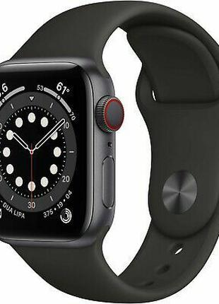 Apple Watch Series 6 44mm Space Gray Aluminum Case with Black Spo