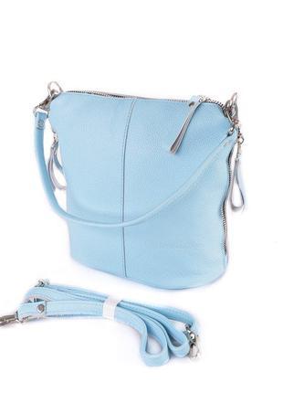 Кожаная мини сумка с длинным ремешком через плечо женская моло...