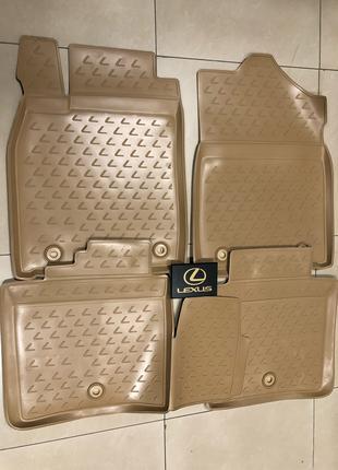 Новые оригинальные резиновые коврики на Lexus ES