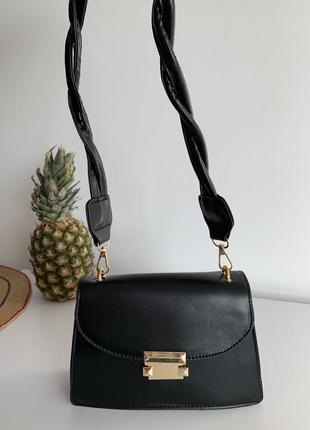 Сумка маленькая, чорная сумка, длинная ручка, женская сумка.
