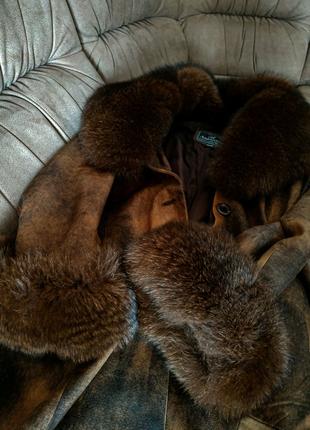 Пальто зимнее из верблюжьей кожи + мех НОРКИ