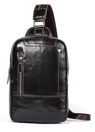 Мужская сумка-рюкзак слинг на одну шлейку лямку через плечо ко...