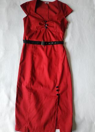 """Стильное тёмно-красное платье с поясом """"lindy bop"""""""