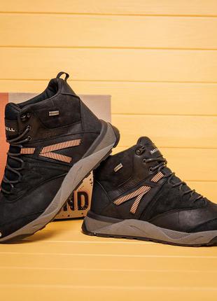 Мужские зимние кожаные ботинки merrell black (мех)