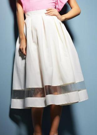 Базовая юбка миди с сетчатой вставкой