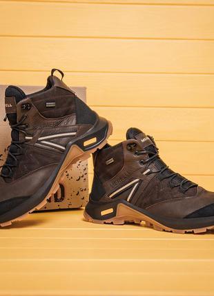 Мужские зимние кожаные ботинки merrell brown (мех)