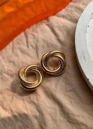Винтажные круглые серьги гвоздики спираль