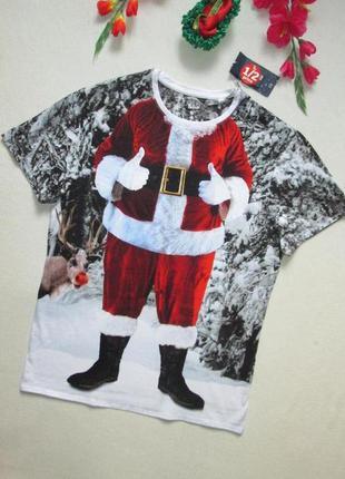 Крутая хлопковая футболка в зимний новогодний фото принт санта...