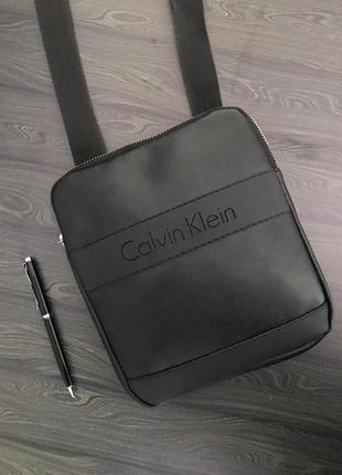 Мужская кожаная сумка через плечо черная , барсетка / мессендж...