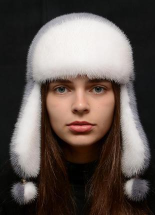 Женская зимняя норковая шапка-ушанка