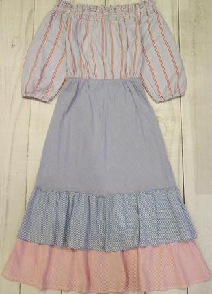 Длинное платье с воланами и пышными рукавами, m-l
