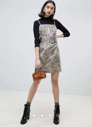 Крутое качественное леопардовое платье сарафан с широким поясо...