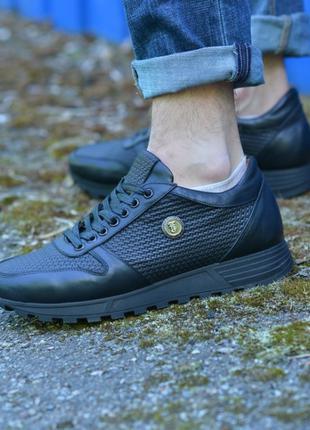 Ботинки мужские на меху натуральная кожа черные