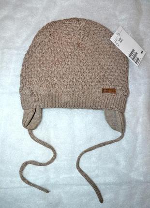 Новая теплая шапочка на хлопковой подкладке h&m р.1-2 года