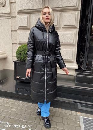 Пальто пуховик зимний, куртка пальто пуховик зима осень, удлин...
