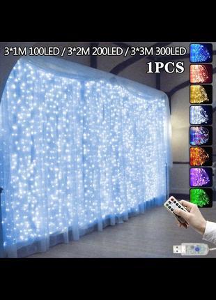 Новогодняя гирлянда размеры 3×3,300 светодиодов