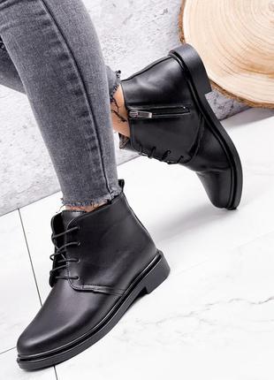 Женские зимние кожаные ботинки на низком каблуке,чёрные кожаны...