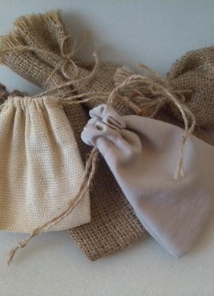 Мешочки из разных тканей, из натуральной ткани.
