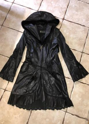 Кожаный плащ пальто кожа норка