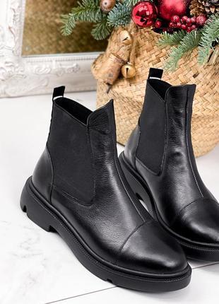 Женские зимние кожаные ботинки челси,чёрные зимние ботинки на ...