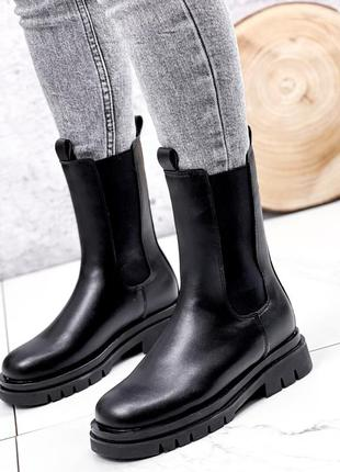 Женские зимние чёрные ботинки челси,высокие ботинки челси