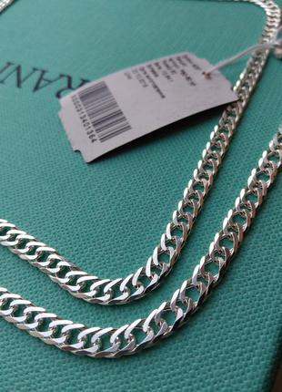 Серебряная цепочка цепь плетение двойной ромб 60 см серебро 92...