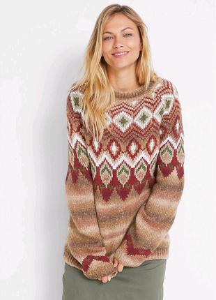Коллекционный акриловый трендовый Пуловер оверсайз. Этно. Батал