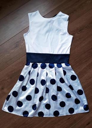 Легкое платье в горох с открытой спинкой и бантом размер s-m