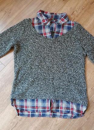 Кофта-рубашка с рукавим 3/4 размер м