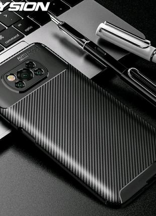 Чехол бампер задняя крышка Xiaomi POCO X3 NFC carbon карбон