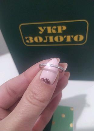 Кольцо из белого золота с бриллиантами 17 размер