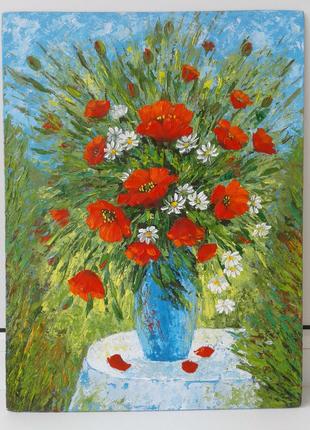 Картина маслом живопись цветы маки ромашки букет в вазе натюрморт