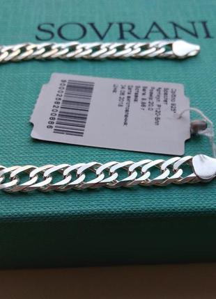 Серебряный браслет плетение двойной ромб серебро 925 пробы