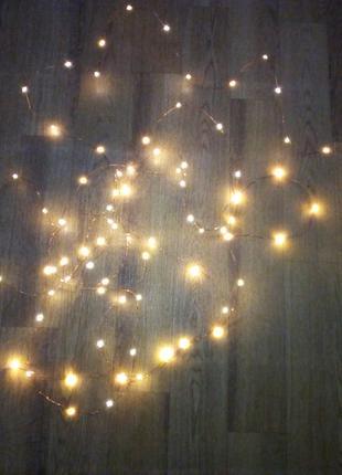 Уличная светодиодная гирлянда 20 м 200 LED роса капля на проводе