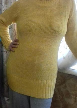 Меланжевый длинный теплый свитер бангладеш размер на укр от 50...
