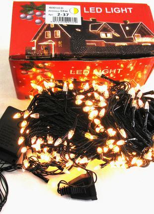 Гирлянда 400 LED , черный силиконовый кабель 18 м.