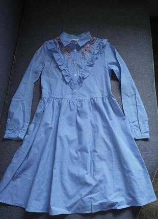 Новое стильное платье в полоску 11-12 лет