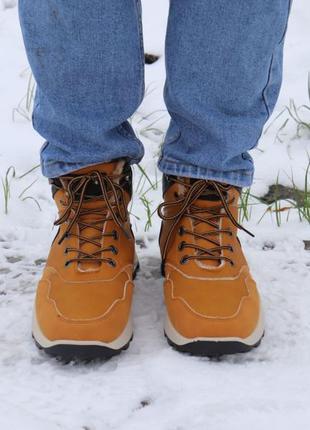 Мужские ботинки зимние рыжие с мехом. размер 42