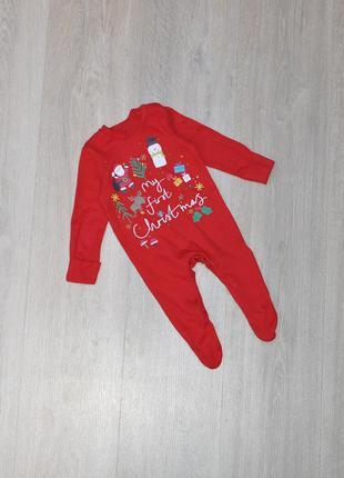 Рождественский человечек f&f 0-3 мес. my first christmas. ново...
