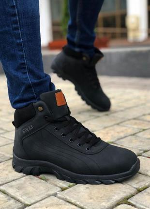 Мужские Ботинки Нубук Черные
