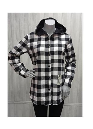 Рубашка женская молодежная теплая байковая в клетку чернобелая
