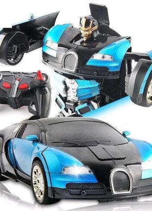 Машинка Трансформер АВТОБОТ Bugatti Robot Car Size 1:18 Синяя