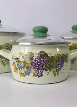 Набор эмалированных кастрюль Виноград