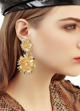 Длинные серьги золотые цветы