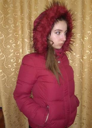 Теплая бордовая куртка бершка