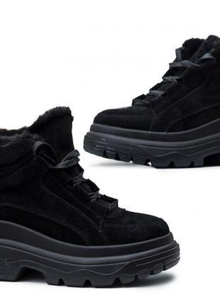 Ботинки женские на толстой подошве черные
