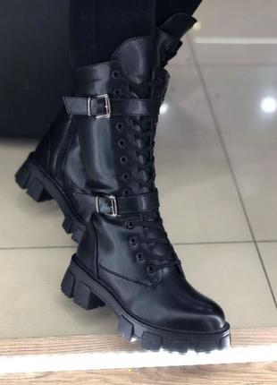 Женские Ботинки Прада высокие Зима черные