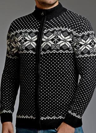 Теплый мужской свитер на молнии 5 цветов черный (mgd.0028.1)