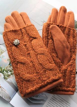 Женские кашемировые перчатки с вязкой рыжие