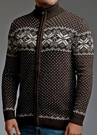 Теплый мужской свитер на молнии 5 цветов коричневый (mgd.0028.2)